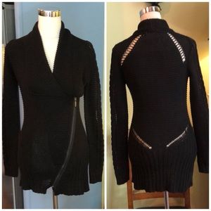 NWT* RACHEL Rachel Roy Black sweater zip cardigan